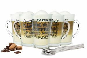 6-Kaffeeglaeser-300ml-und-6-Edelstahl-Loeffeln-gratis-Latte-Kaffee-Aufdruck