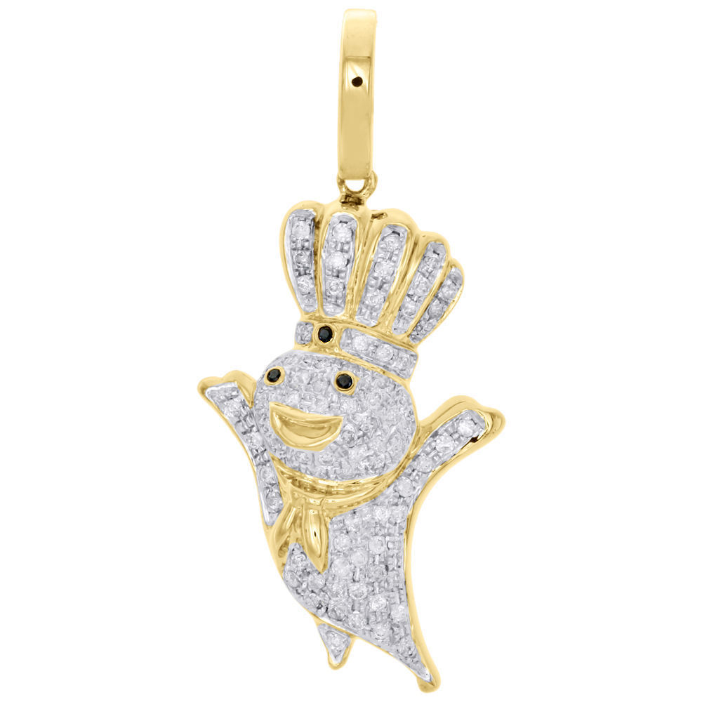 10K Yellow gold Finish Diamond Doughboy Pendant Mens Pave Charm 1.44 CT.