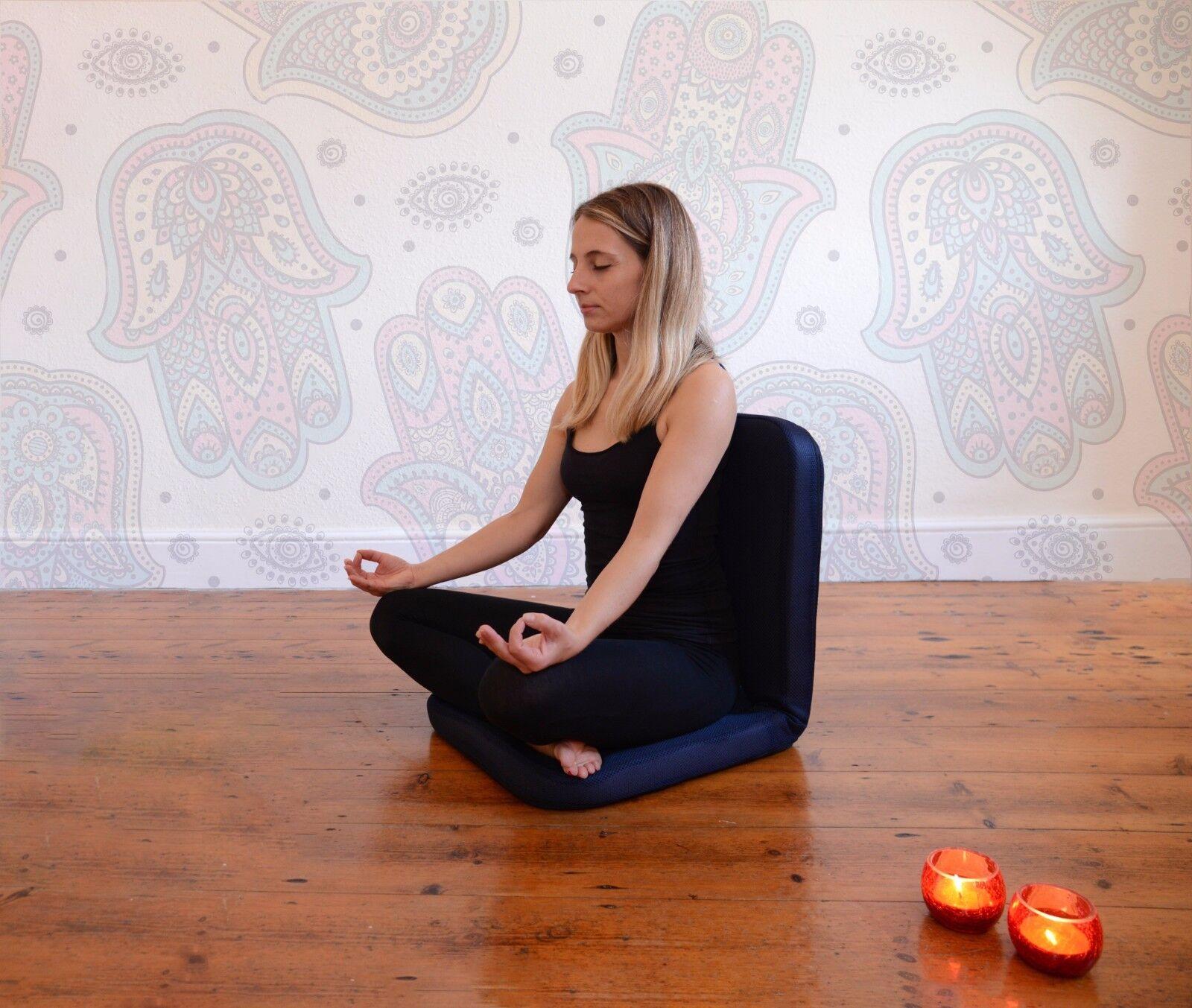 Omlove Navy Pieghevole Sedia Da Yoga Meditazione Pavimento Imbottito Lombare Support Prana