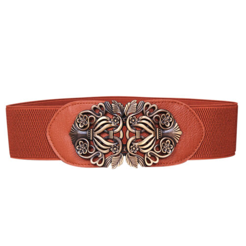Womens Ladies Thick  Buckle Wide Waist Belt Elastic Stretch Cinch Corset Belts