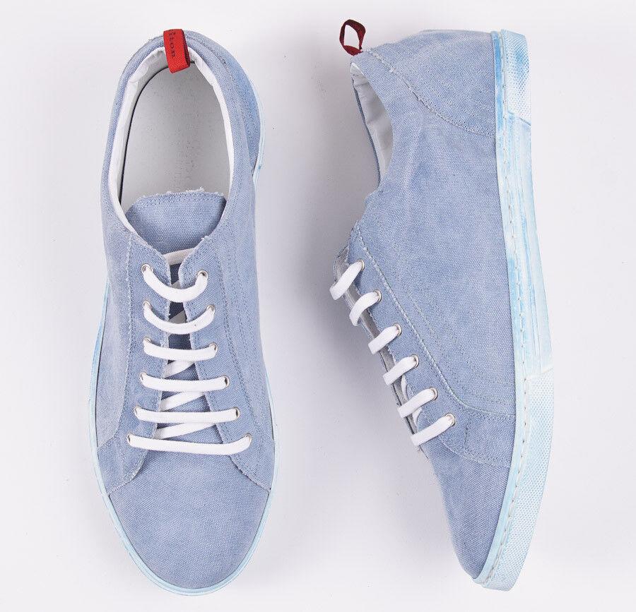e300923532c3 ... NIB  995 KITON NAPOLI Sky Blue Blue Blue Washed Canvas Low-Top Sneakers  US 7.5 ...