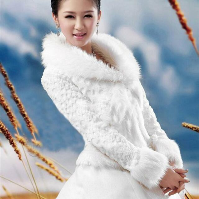65376674b74 Bride Cape Long-Sleeve Faux Fur Wedding Wrap Ivory Jacket Winter Bridal  Shawl