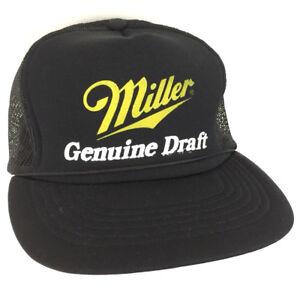 6f3a5678bf8 Vtg Miller Genuine Draft Hat Beer Cap Rope Mesh Snapback Logo ...