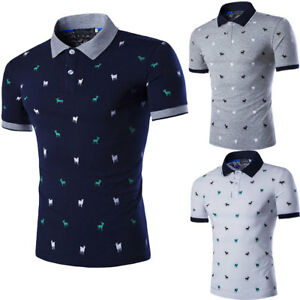 Fashion-Mens-Stylish-Casual-T-Shirts-Slim-Fit-Short-Sleeve-POL-Shirt-Gol-Tops