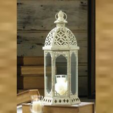 """Lot 6 Distressed White15.8/"""" Tower Lantern Candleholder Centerpieces"""