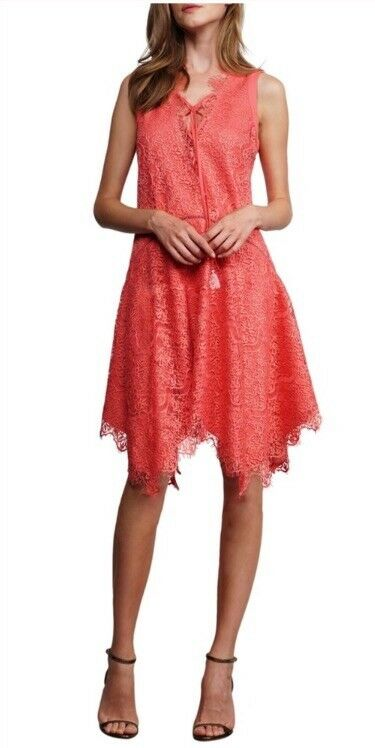 Adelyn Rae Large Coral Lace Shift Dress Lace Up Front Nwt  138