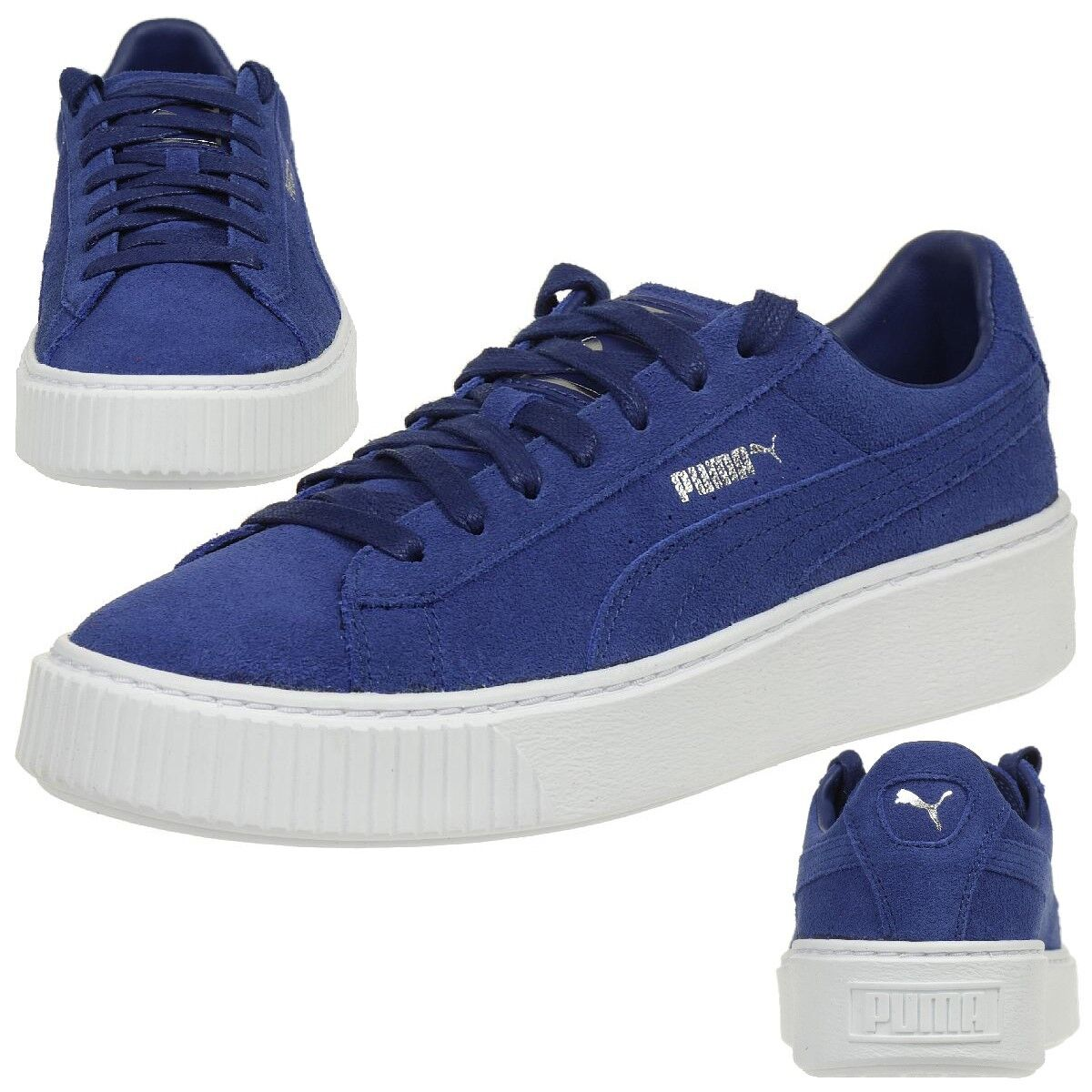 Puma Suede Platform Ladies Sneaker shoes Leather bluee