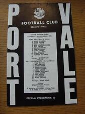 04/11/1972 PORT VALE V Bournemouth (leggera piega/Pieghevole)