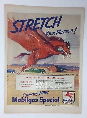 Original Print Ad 1950 Mobilgas Pegasus Stretch Your Mileage Flying Horse Art Merchandise & Memorabilia