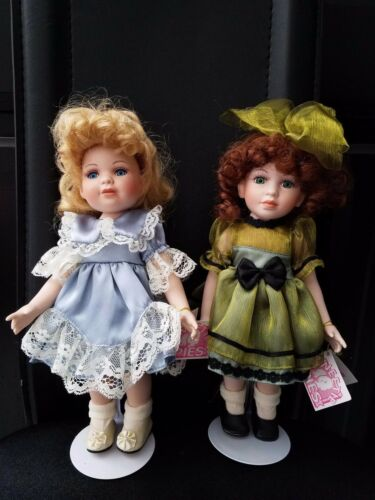"2 Sweetie Pies Hand Crafted 11"" Porcelain Dolls Tuss Inc."