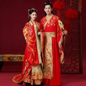 Vintage Chinese Wedding Dress Embroid Men And Women Traditional