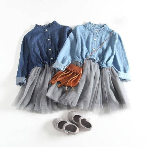Toddler Baby Girl Denim Dress Long Sleeve Princess Tutu Dress Cowboy Clothes KY