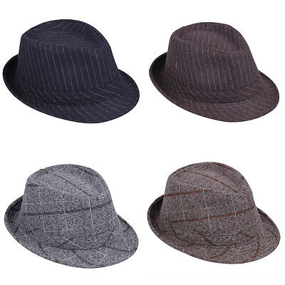 Men Women Fedora Hats Trilby Caps Panama Sombrero Sunhat Sunbonnet Jazz Striped