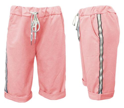 Bermuda JogPants 36-42 Damen-Shorts kurze Hose Caprihose Sweatshorts uni