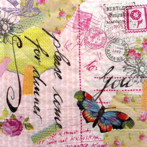 20 x vintage table serviettes en papier//découpage//craft//tea party//jardin