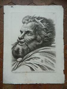 Estampa Retrato Massenzio Grabado Aguafuerte Paolo Fidanza Según Raphael 18th