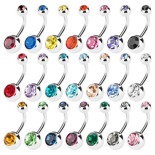 Set//15Pcs Surgical Stainless Steel Crystal Ball Belly Bars Navel Button Barbell