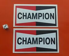 """CHAMPION Spark Plugs STICKERS 6""""x3"""" Pair Classic Rally Racing decals"""