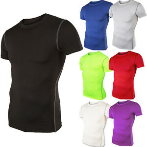 Men-Sports-Athletic-Top-Compression-Shirt-Blouse-Base-Layer-Short-Sleeve-T-Shirt