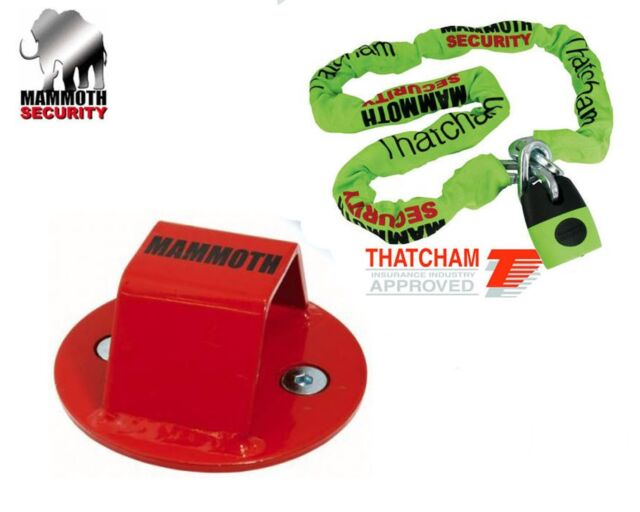 Mammoth Ground Anchor and Lock /& Chain Motorcycle Quad Bike Security THATCHAM