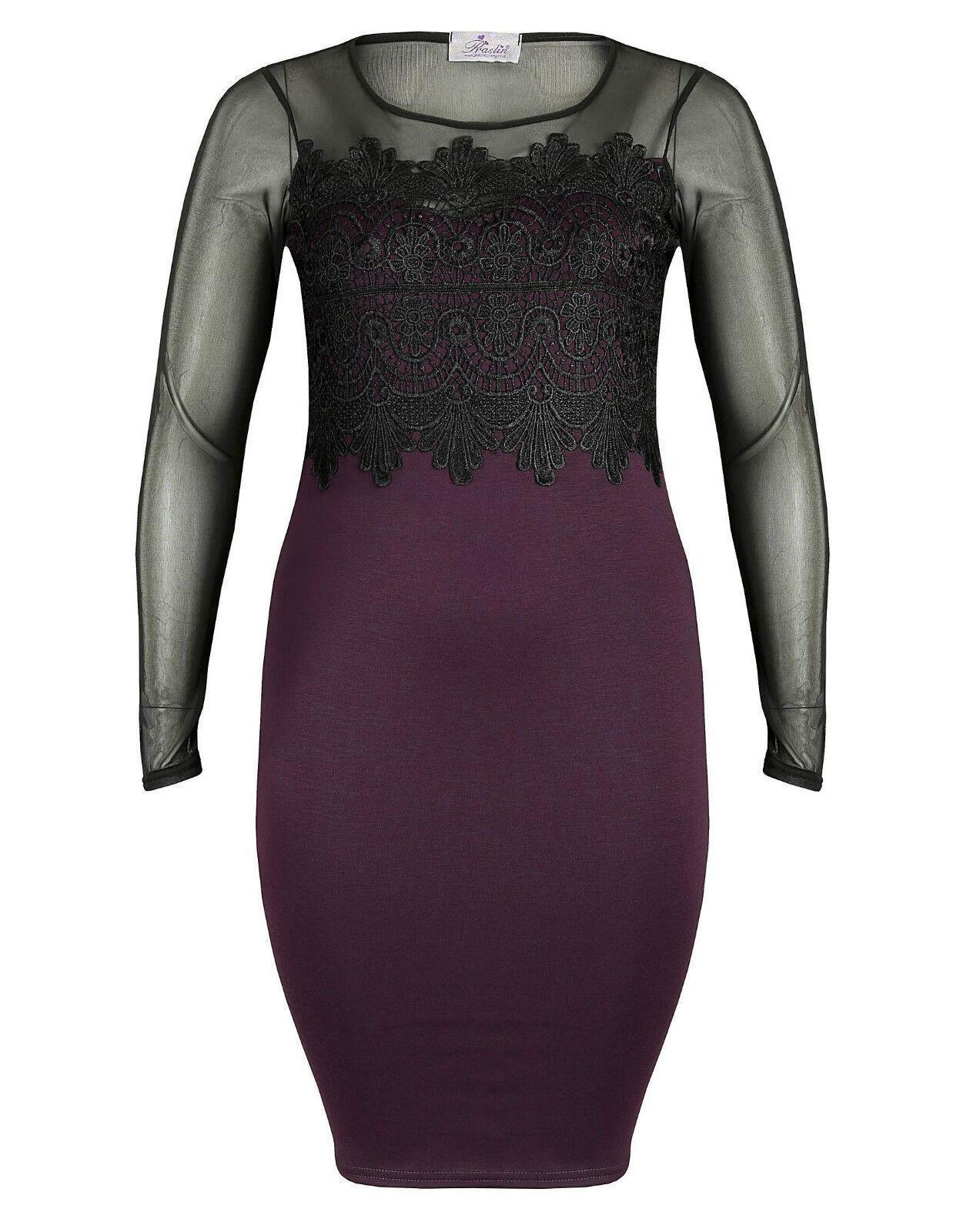 Spitzenkleid Gr.44 Etuikleid Spitze Kleid Lila Neu Langarm Neu Damen festlich