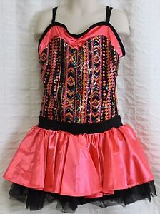 Weissman Costumes Sa Dance Dress Pink Sw Sequins South West Design Tulle Skirt Ebay