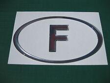 1 F Francesa Oval Chrome Dome Auto Adhesivo De 130 Mm X 72 Mm
