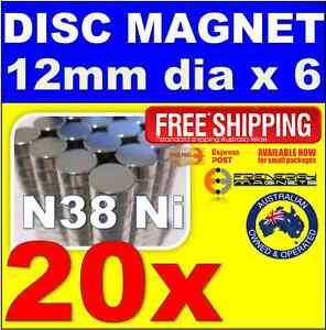 20X DISC Neodymium Rare Earth Magnets 12mm x 6mm N38