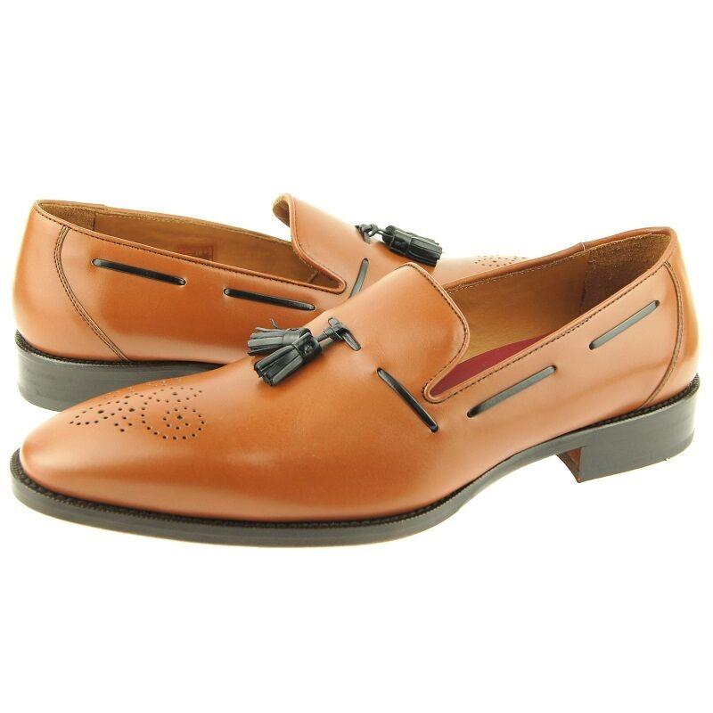Lorens  Jiro  Tasseled Loafer, Men's Slip-on Dress Leather shoes, Cognac, Spain