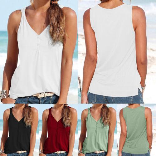Damen Sommer Weste T-shirt Ärmellos Tank Top Trägertops Freizeitshirt Bluse Mode