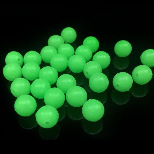 200pcs Gloe Carp Fishing Lures Soft Round 6-8mm Plastic Glow Floating Green Bead