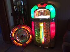 WORKS!! ANTIQUE ROCKOLA 1428 MAGIC GLO JUKE BOX & WURLITZER ROUND MIRROR SPEAKER