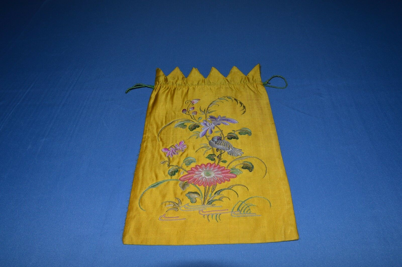 ANTIQUE CHAPLAIN BOURSE SILK EMBROIDERED FLOWERS BIRD  MONOGRAM P.J   19