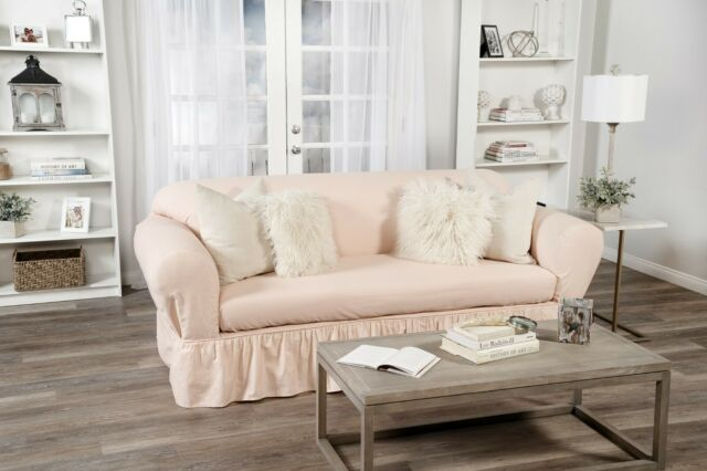 Super Ruffled Cotton Sofa Slipcover 2 Pc Pink Gmtry Best Dining Table And Chair Ideas Images Gmtryco