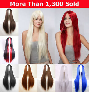 75cm-Long-Sleek-Straight-Hair-Synthetic-Full-Wigs-Cosplay-Party-Costume-Wig