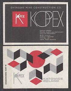 POLAND-1974-Matchbox-Label-Cat-G-358-59-Overseas-Mine-Construction-CO-KOPEX