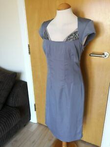 Ladies-HOLLY-WILLOUGHBY-Dress-Size-12-Grey-Wiggle-Party-Evening-Wedding-Races