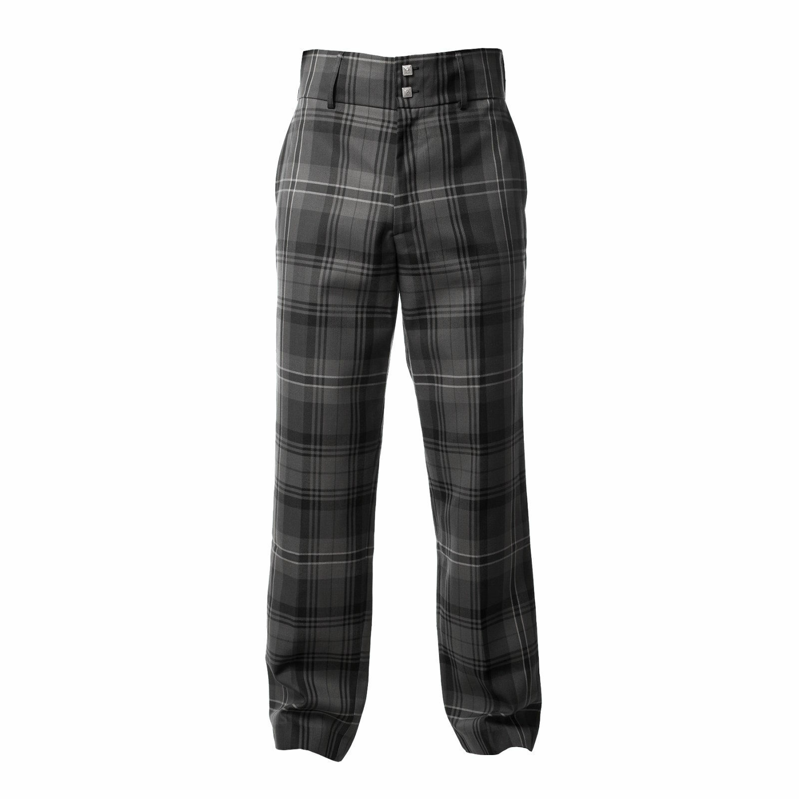 Mens Hamilton Grey Tartan Trousers Trews