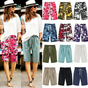 Womens Loose Cargo Cropped Trousers Long Shorts Plus Size Summer Pants Capri