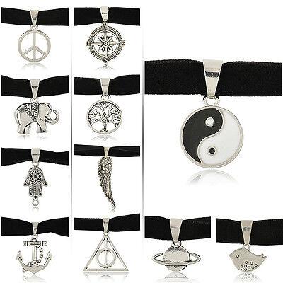 Black Gothic Velvet Cord Choker Charm Necklace Pendant Retro 90's Boho Tibetan