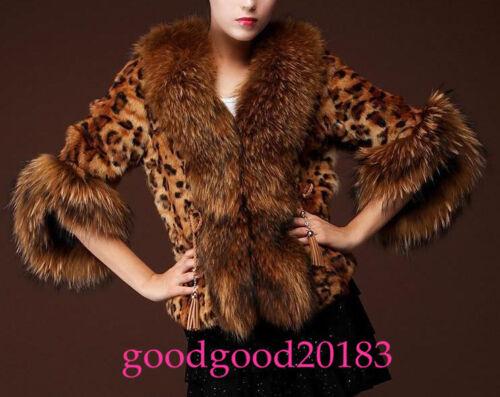 Femmes décontractée veste chaude fourrure mode de hiver parka léopard col renard sexy courtes Rrw7qpR