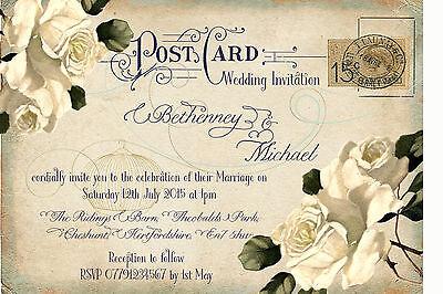 PERSONALISED VINTAGE POSTCARD IVORY ROSE BIRDCAGE WEDDING INVITATIONS