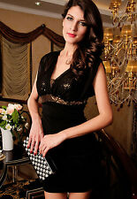 Dress Woman Elegant Little Ceremony Evening Crisscross Sequins Party Girl Neck