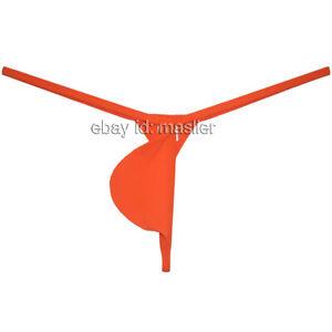 Men's Pouch T-back Underwear Mini Skinny Panties Ice Silk G-string XL Orange
