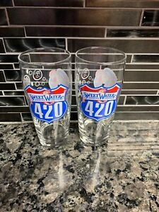 Funky-Colorful-Music-SweetWater-Brewing-Co-420-Set-of-2-Beer-Pint-Glasses-FreShp