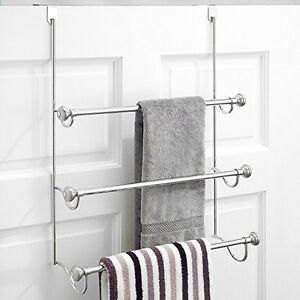 Metal Over The Shower Door 3 Bar Towel Rack Bathroom Storage Ebay