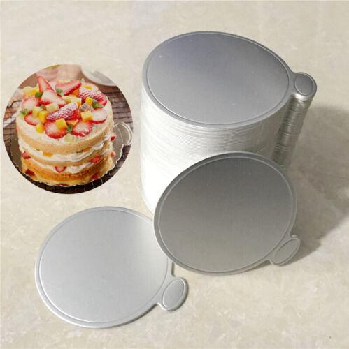 100Pcs 8 CM 9CM Cake Boards Gold Round Mousse Cupcake Dessert Displays Tray