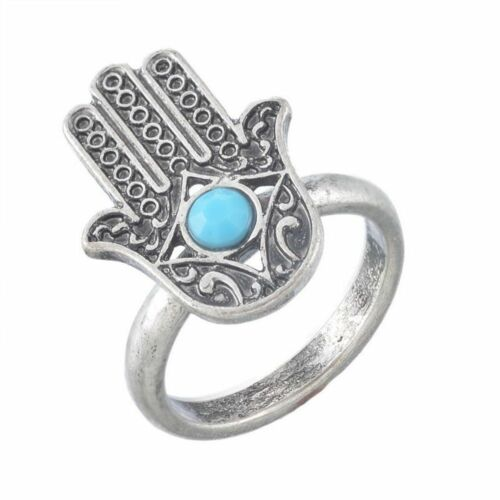 Hand Of Fatima Lucky Protection Silver Evil Eye Jewelry Hamsa Ring Ethnic