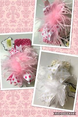 Handmade Pink and Black Polka Dots Over The Top Ostrich Feather Hair Bows