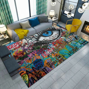 Details about Abstract Urban Colorful Graffiti Wall Eye Area Rugs Bedroom  Carpet Floor Mat Rug